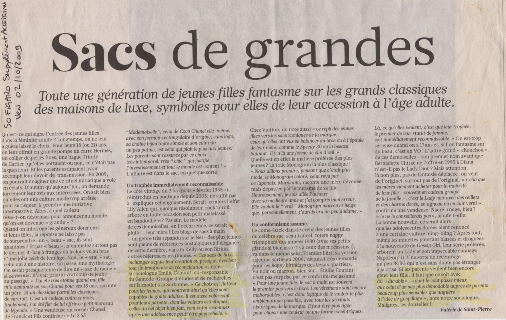 Interview Emilie Coutant Le Figaro 2 octobre 2009